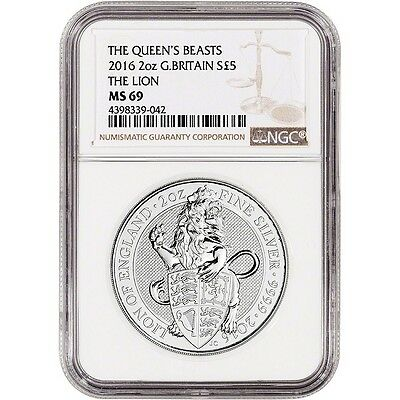 2016 Great Britain Queen's Beasts Lion .9999 Silver 2 oz BU NGC MS69