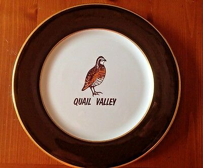 Vintage Quail Valley Dinner Plate Shenango China Restaurant Ware Made in USA