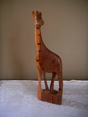 Hand Carved Wood Giraffe Statue Figurine Made In Africa