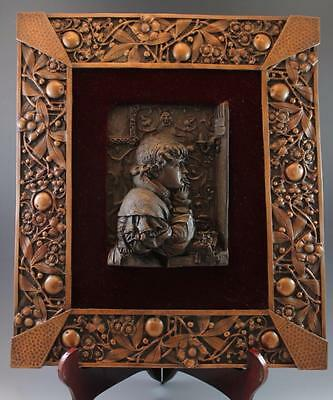 C1900 Bronze Relief Plaque w/ Ornate Copper Frame Signed Forni 'Evening Prayer'