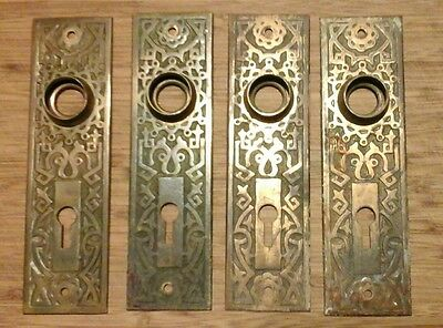 4 MATCHING '- 2 PAIRS ANTIQUE BRASS EASTLAKE  ESCUTCHEON Door Knob BACK PLATES