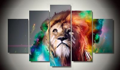 Abstract Wall Decor Art Oil Painting on Canvas 5 Parts NO frame Colorful Lion 85