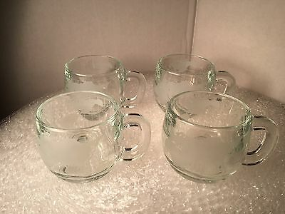 (4) Vintage Nestle Clear Glass Frosted Globe Coffee Mugs Tea Cups