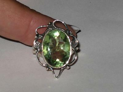 Green Amethyst Ring 925 SZ 8 Witch Estate LAW O ATTRACTION OPEN 3RD EYE VISIONS