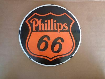 Porcelain Advertising Phillips 66 Round Button Dome Sign Oil Gas Station Sign