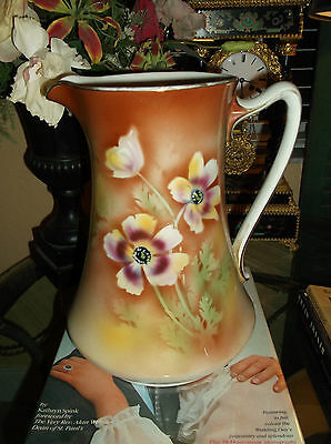 Antique Victorian Hand Painted Porcelain Pitcher/made In Burslem, England