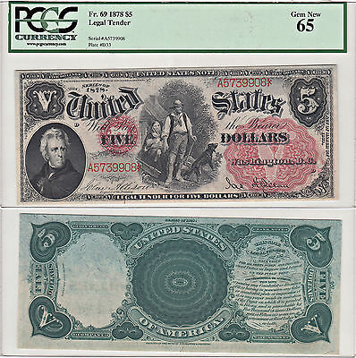 1878 $5 United States Note F-69 PCGS Gem New-65