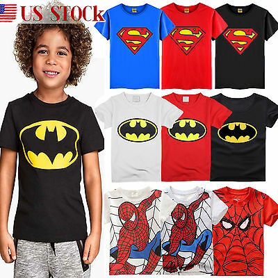 Toddler Boys Kids Batman Superman Character Short Sleeve T-Shirt Summer Tee Tops