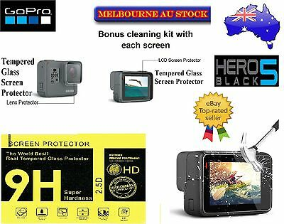 GoPro Hero 5 LCD Screen & Lens Protector 9H Hard Tempered Glass & More Options