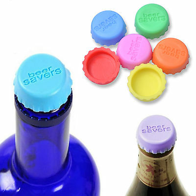 6* Lovely Beer Bottle Silicon Caps Saver Cover Reusable Stopper Lid Colour