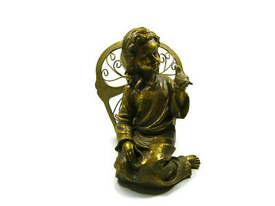 Gold gilt angel fairy sitting holding bird statue figurine ornament