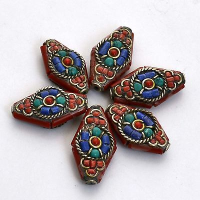 BDS312A Turquoise Coral Tibetan Silver Flower  6 Beads Tribal Ethnic Handmade