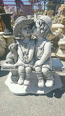 Boy And Girl Sitting On Bench With Dog Statue / Garden Ornament In Grey figurine