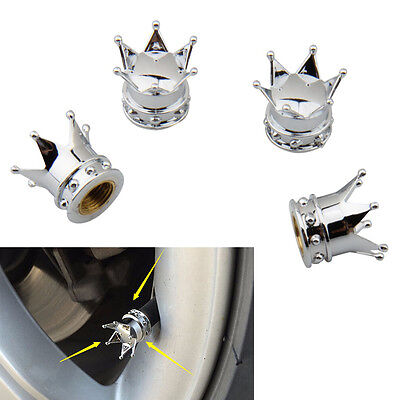 4Pcs Universal Chrome Crown Car Tire Air Valve Stems Cover Caps Wheel Rims Hot