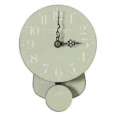 Pale Green White Country Shabby Chic WILLIAM SUTTON Wall Hanging Pendulum Clock
