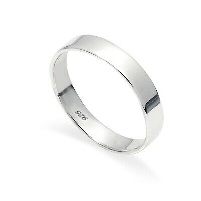 New New 925 Sterling Silver Flat  4mm Polished  Band Ring In Sizes G-Z