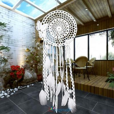 White Handmade Butterfly Dream Catcher With Feather Bead Hanging Decor Ornament