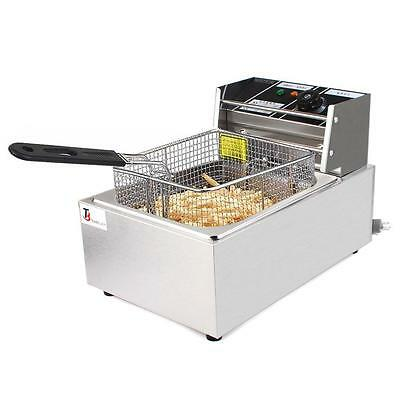 6L Electric Countertop Deep Fryer Kitchen French Fry W/Basket Stainless Steel US