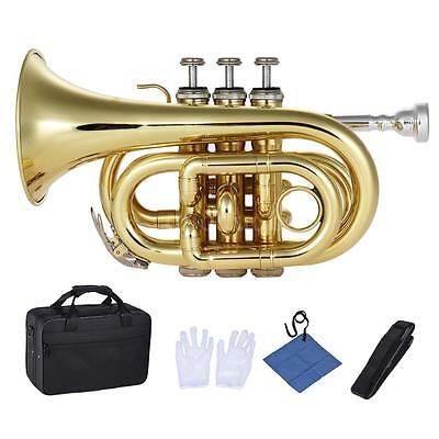 ammoon Pocket Trumpet Bb Flat Brass with Mouthpiece Carrying Case J5O8