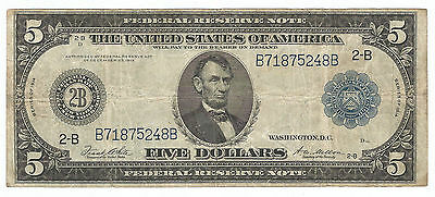 1914  $5 - FEDERAL Reserve Large note  -  New York  - Blue Seal  -  VG+