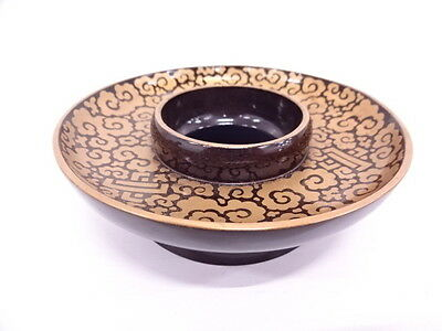 2993757: Japanese Lacquer Ware / Tenmoku-Dai (Tea Bowl Stand) / Lacquer / Cloud