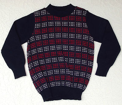 Vintage boys jumper Age 3-4 UNUSED Courtelle knit wear sweater Red White Navy