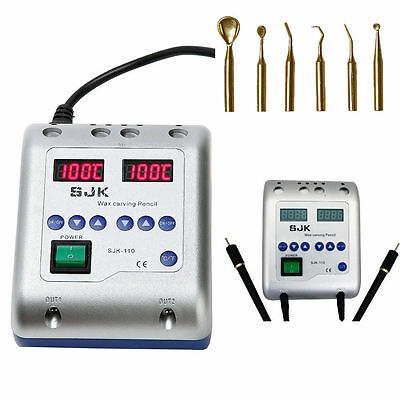 Dental Lab Electric Waxer Carving knife Machine Double Pen & 6 Wax Tips Long Use