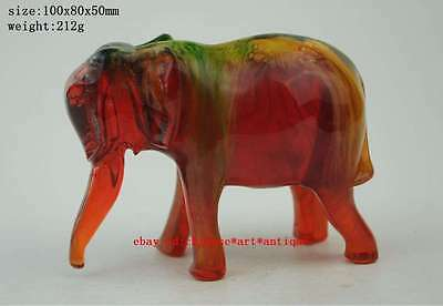 China old folk collectibles amber handwork carving lucky elephant shape statue