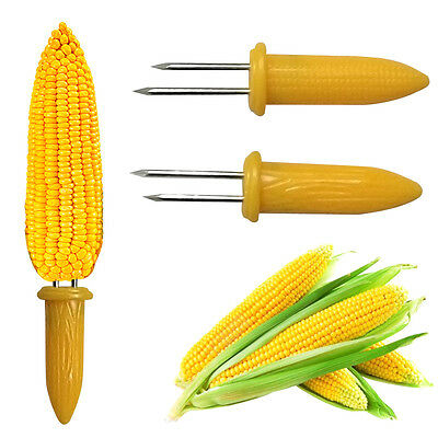 10 Stainless Steel Corn On The Cob Skewers Sweetcorn Holder Easy Grip BBQ Prongs