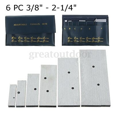 6x 3/8'' - 2-1/4'' Adjustable Parallels Set Precision Steel Measurement Tool New