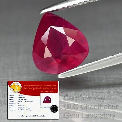 Big Rare! 3.04ct 9.5x8.5mm Pear Natural Unheated Untreated Red Ruby *Certified