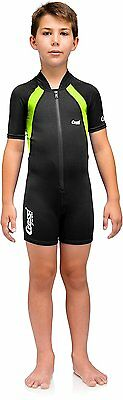 Cressi Kid Shorty Shorty Wetsuit - Black/Lime 1.5 mm - 8/10 Age