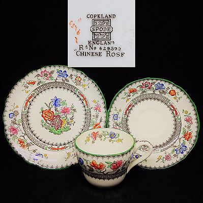Spode 1930s Copeland Chinese Rose 9253 #629599 English Vintage China Trio Set