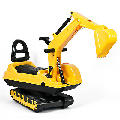 Childrens Ride on Excavator Digger Indoor and Outdoor Push Along Toy Tractor