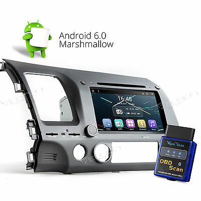 Eonon OBD-II Android 6.0 Car DVD Player Stereo GPS BT/3G WIFI for Honda Civic A