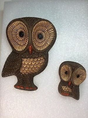 Owl Wall Art Hanging Plaques 1 Set Big Eyes Molded Foam Craft Retro Vintage 1970