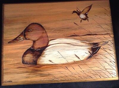 ORIGINAL Duck Portrait - Pyrography WoodBurning Drawing on Wood Canvasback duck