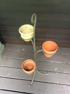 Vintage Antique Wrought Iron 3 Legged Plant Stand Holds 3 Plants