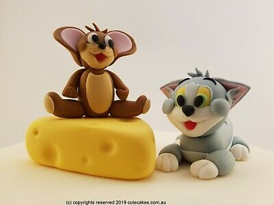 Edible 3D Tom and Jerry Cake Topper Cat Mouse Cheese & Figurines Birthday