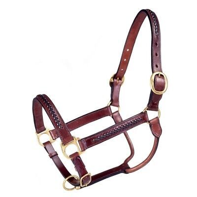 Tough-1 Royal King Braided Leather Halter Horse Brown