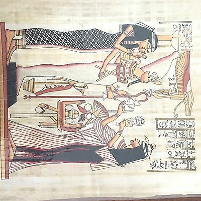 Egyptian Hand Painted Painting on Papyrus With Certificate