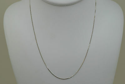 14K solid white gold 18 inches box style chain