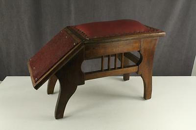 Vintage Mercantile OAK Wood Shoe Store Fitting Bench Stool Red Leather Seat