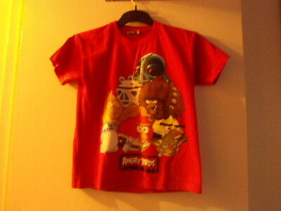 Boys Red Angry birds short sleeved  T-shirt age 10 yrs