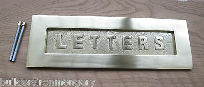 Sprung Solid Brass Letter Box Postal Plate Cover Old Victorian Style