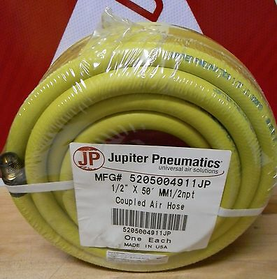 "Jupiter Pneumatics - 1/2""ID.Yellow, EPDM Air & Multipurpose Hose 300 PSI 50Ft"