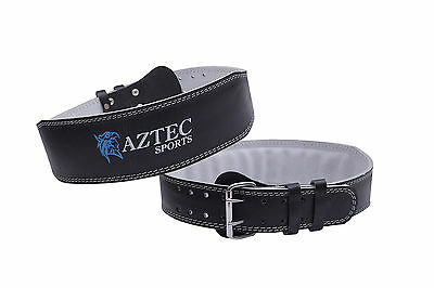 Aztec Sports Leather Weight Lifting Gym Belts, Back Supports 4inch Black