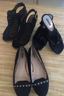 Women's Lot Of 3 Assorted Brands Dress Shoes Black Size 8
