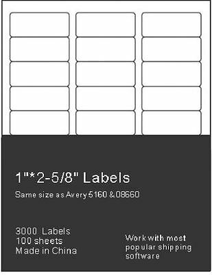 3000 Address Mailing Labels Self Adhesive Compatible FBA Word 1 x 2 5/8 3,000