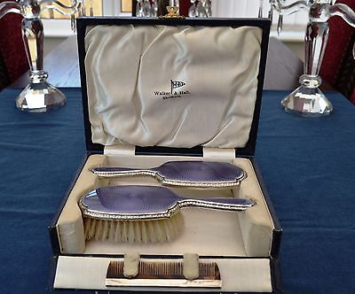 Silver Guilloche Enamel Small Cased Brush Set, Adie Bros Box By Walker Hall 1926